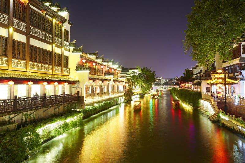 Rivière de Qinghuai la nuit, Nanjing, Chine image libre de droits