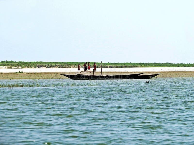 Rivière de Yamuna, le fleuve Brahmapoutre, Bogra, Bangladesh images stock