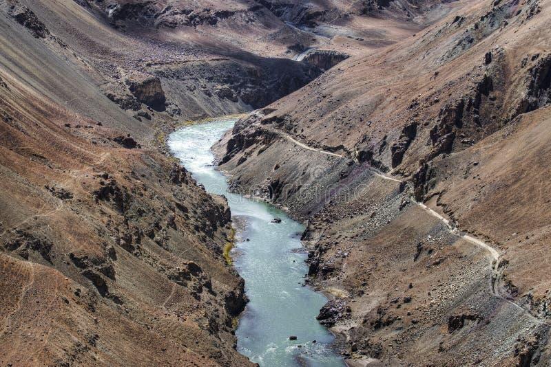 Rivière de Zanskar, Ladakh, Jammu-et-Cachemire, Inde image libre de droits