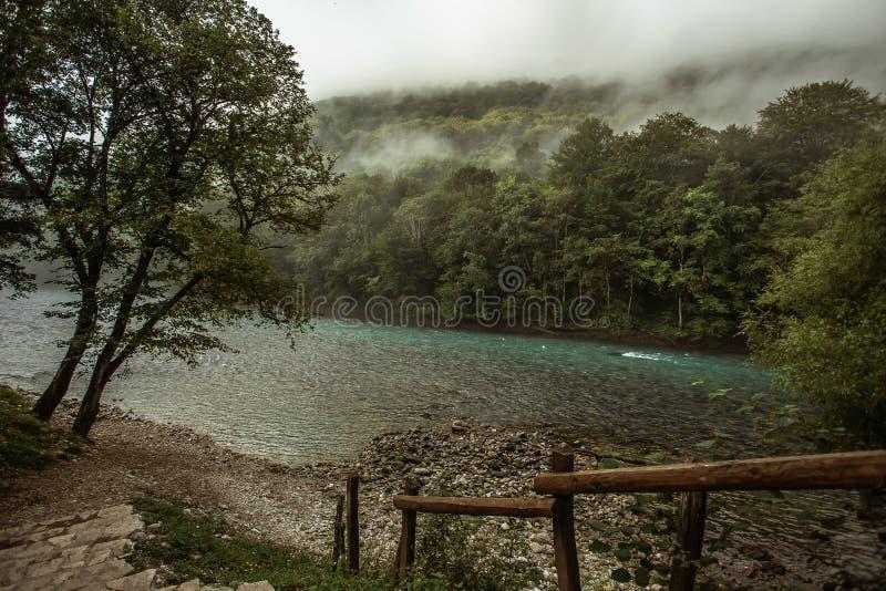 Rivière Drina avec le brouillard images stock