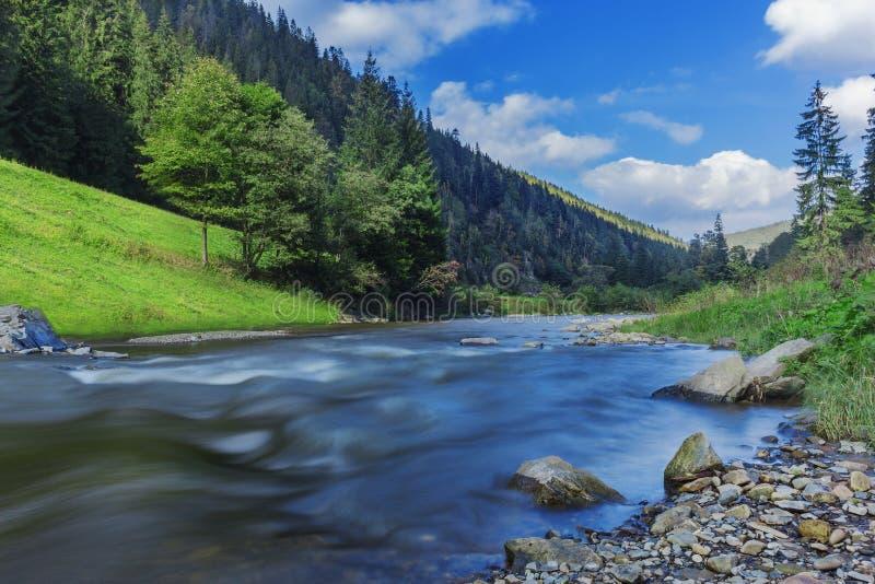 Rivière en montagnes avec des roches, herbe verte sur la rive Paysage de montagne, beau ciel, nuages Idée pour des activités en p images stock