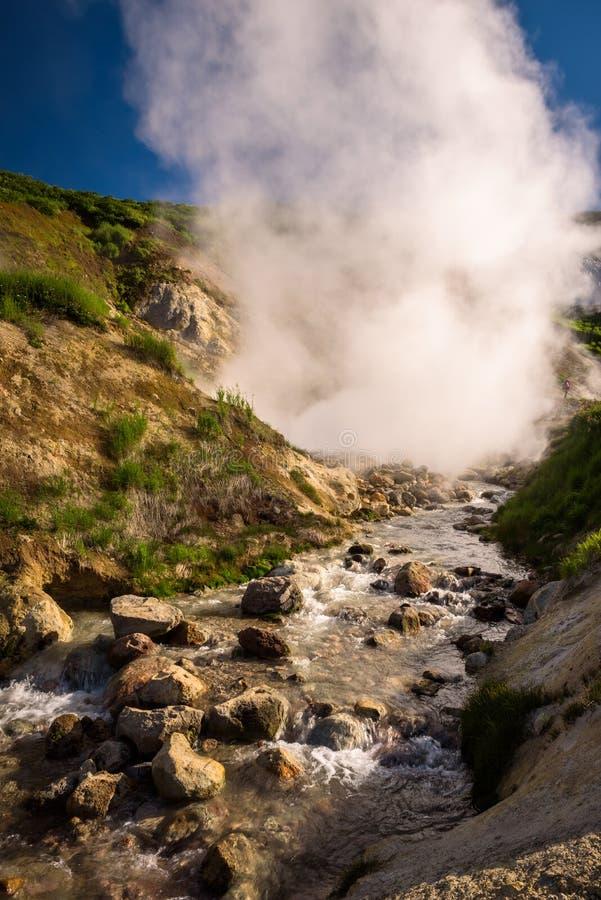 Download Rivière Et Cascades Entre Les Caractéristiques Thermiques Du Volcan De Mutnovsky Photo stock - Image du bouillir, bleu: 76088160