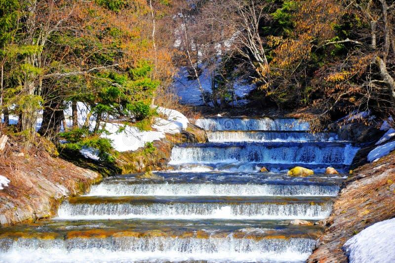 Rivière et neige de dégel photos libres de droits