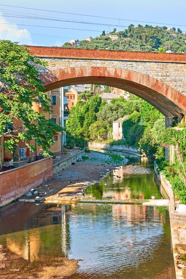 Rivière et pont à Gênes Nervi photo stock