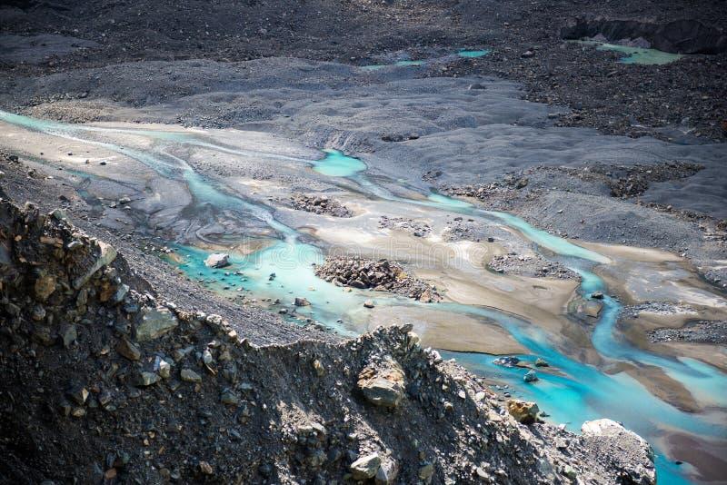 Rivière glaciaire de Mueller, parc national de cuisinier de Mt., Nouvelle-Zélande photos stock
