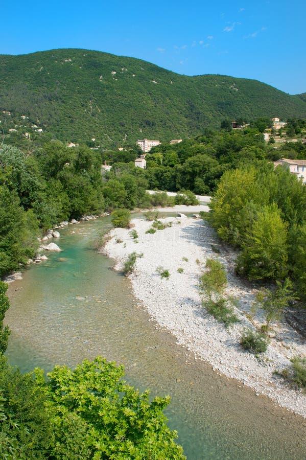 Rivière l'Eygues dans le Drome Provencal images libres de droits