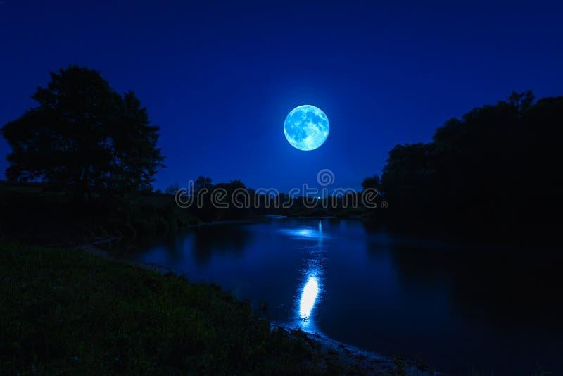 Rivière la nuit avec le brouillard photographie stock