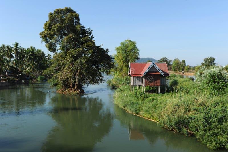 Rivière le Mékong à l'île de Don Khon image libre de droits