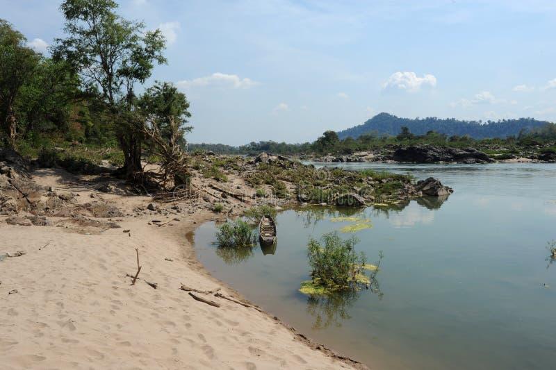 Rivière le Mékong à l'île de Don Khon photos stock