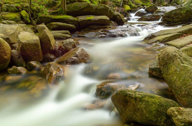Rivière n de montagne le parc national de Karkonosze en montagnes de Sudety, Pologne images libres de droits