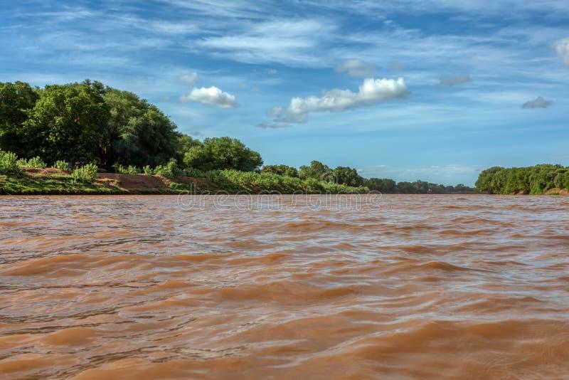 Rivière Omo, Éthiopie, Afrique sauvage image libre de droits