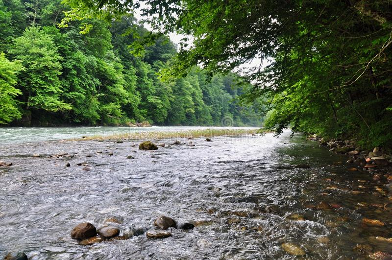 Rivière orageuse Malaya Laba au pied des montagnes de Caucase photos stock