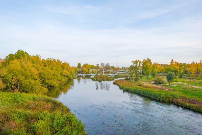 Rivière par la ville de Salamanque image stock
