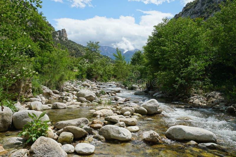 Rivière Pyrénées Orientales de paysage de la France image libre de droits