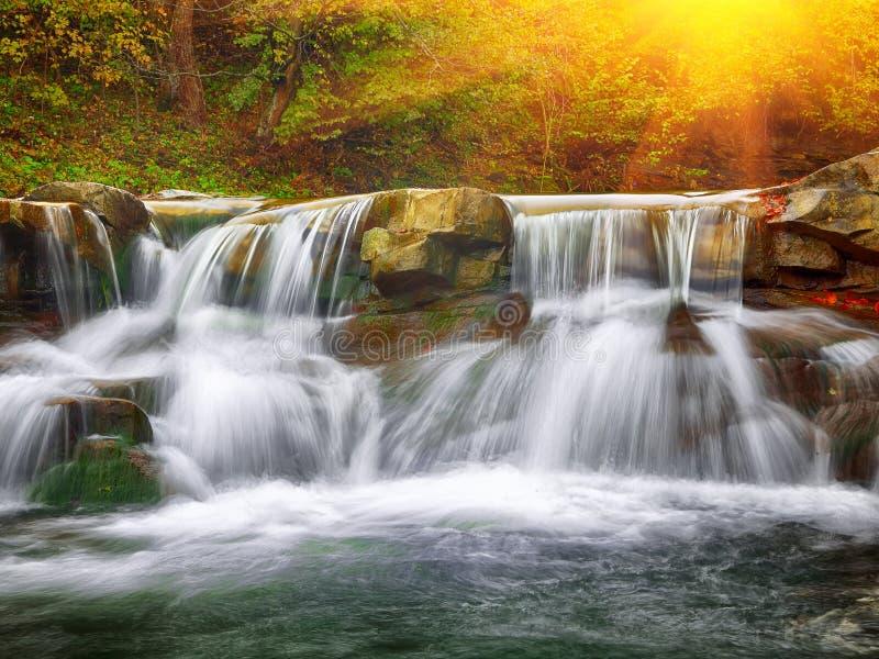 Rivière rapide de montagne en automne au coucher du soleil photo stock