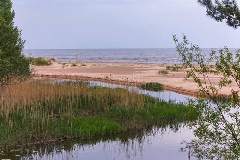 Rivière, sable, mer, été - nature de la Lettonie photographie stock