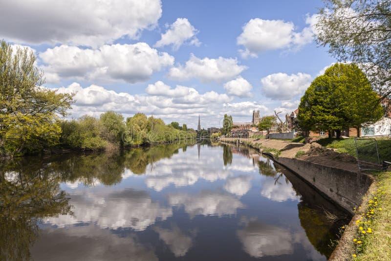 Rivière Severn Worcester England Spring photographie stock libre de droits
