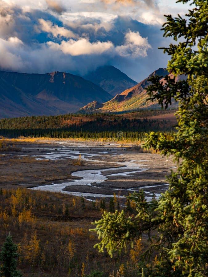 Rivière traversant la vallée en parc national de Denali image stock