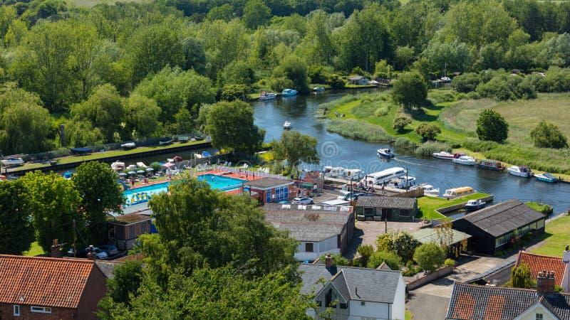 Rivière Waveney, Beccles, R-U, juin 2019 images stock