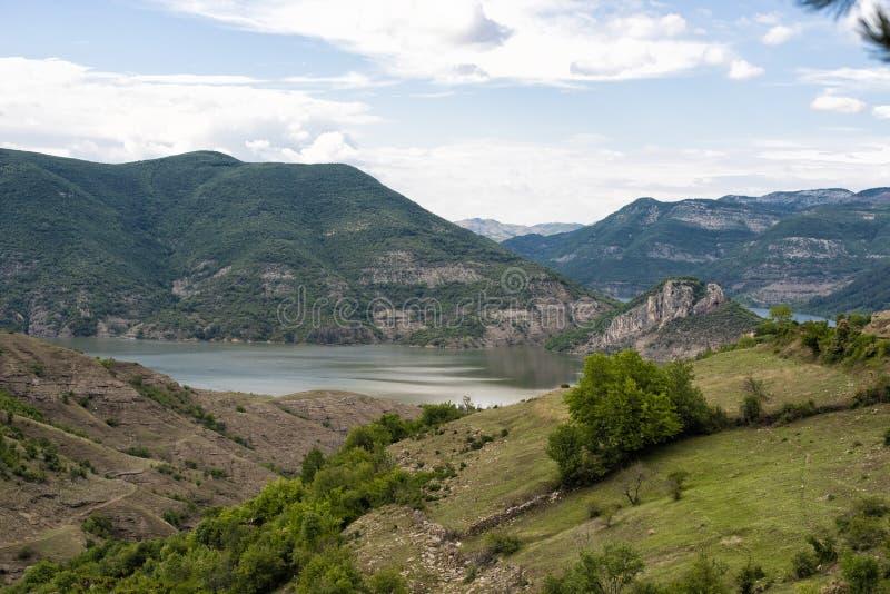 Rivier in berg Bergsleep en stroom rotsachtige rivier Ardarivier, Bulgarije stock foto's