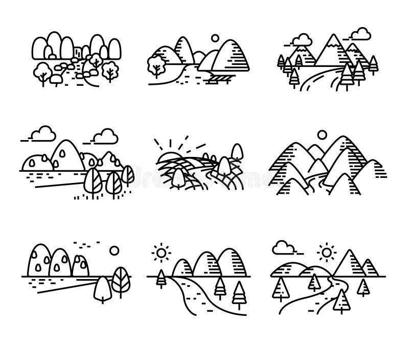 Rivier, bergen en geplaatste aardpictogrammen vector illustratie