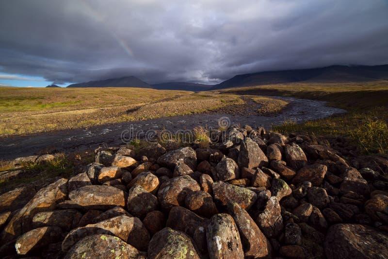 Rivier in de bergen en de rotsachtige toendra royalty-vrije stock foto