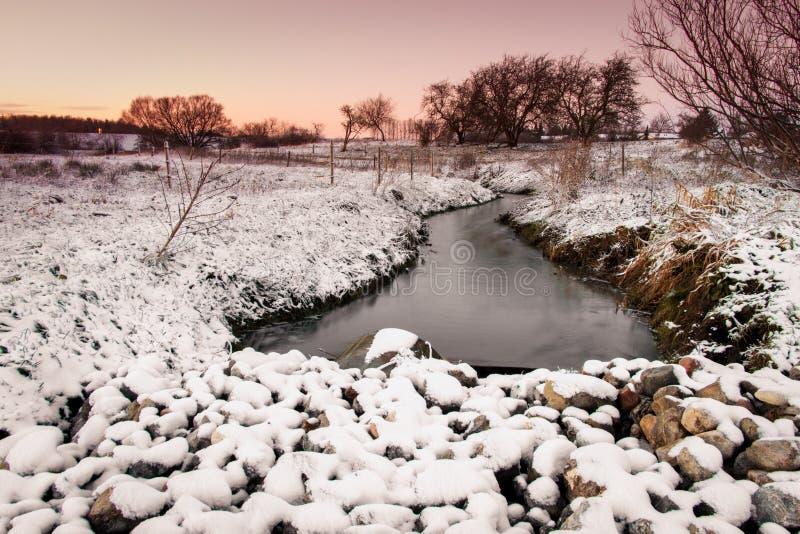 Rivier in de winterlandschap met sneeuw royalty-vrije stock fotografie