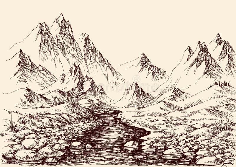 Rivier die in de bergen stromen vector illustratie