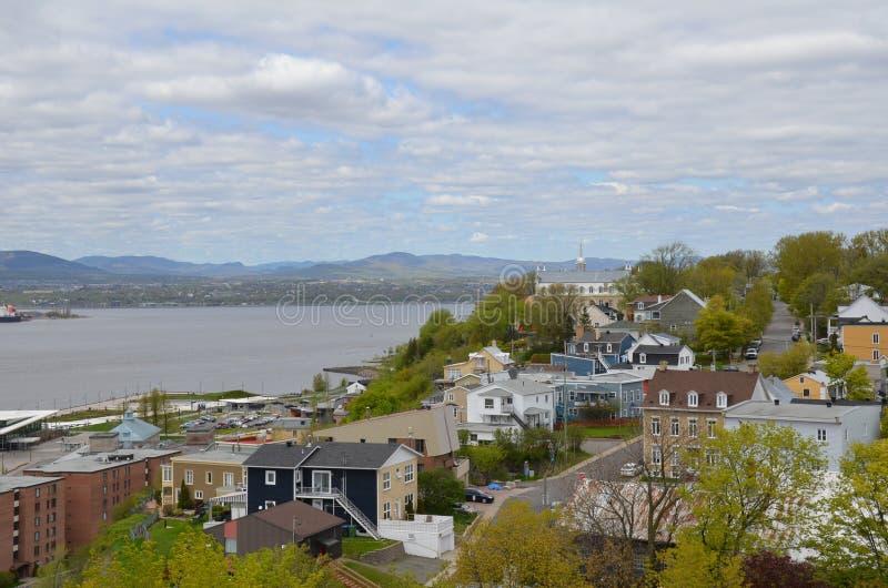 Rivier en gebouwen in Levis, Canada met wolken royalty-vrije stock foto's