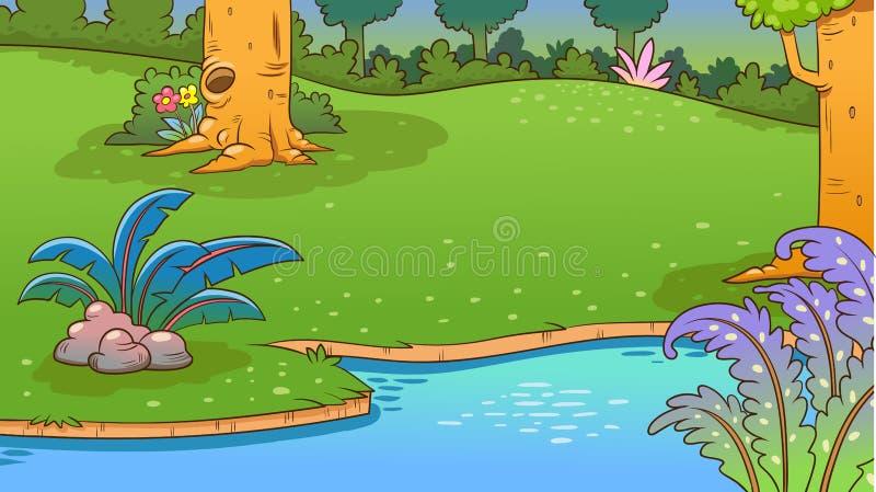 Rivier en het bosaardlandschap, vectorachtergrond stock illustratie