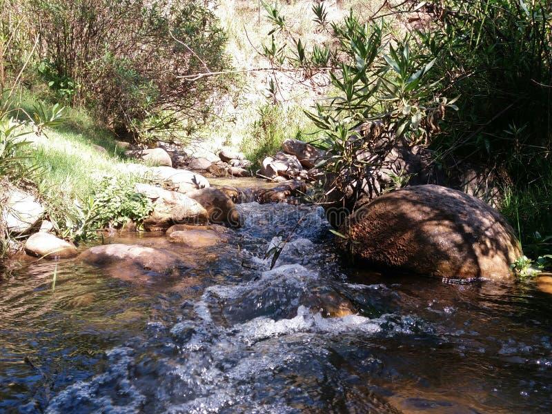 rivier en rotsen op het eerste gezicht stock foto