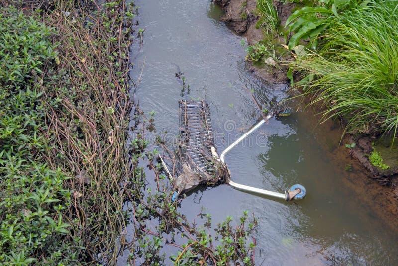 Rivier en waterstroomverontreiniging in Nieuw Zeeland royalty-vrije stock foto's