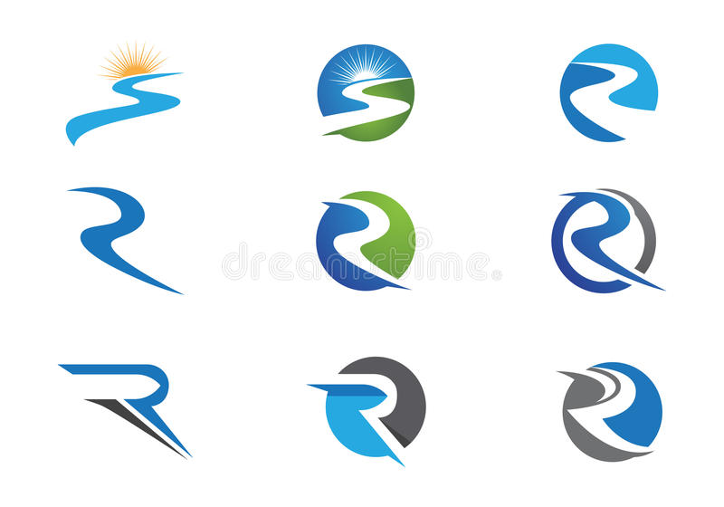 Rivier Logo Template stock illustratie