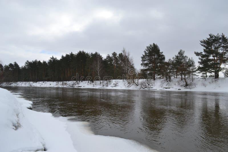 Rivier in Maart in Rusland stock fotografie