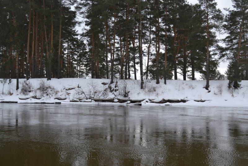 Rivier in Maart in Rusland royalty-vrije stock foto's