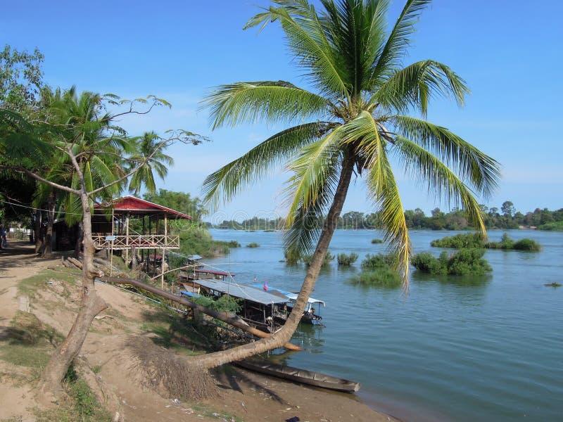 Rivier Mekong bij Don Det eiland stock afbeeldingen