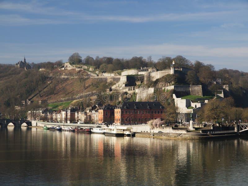 Rivier Meuse in Namen, België royalty-vrije stock foto