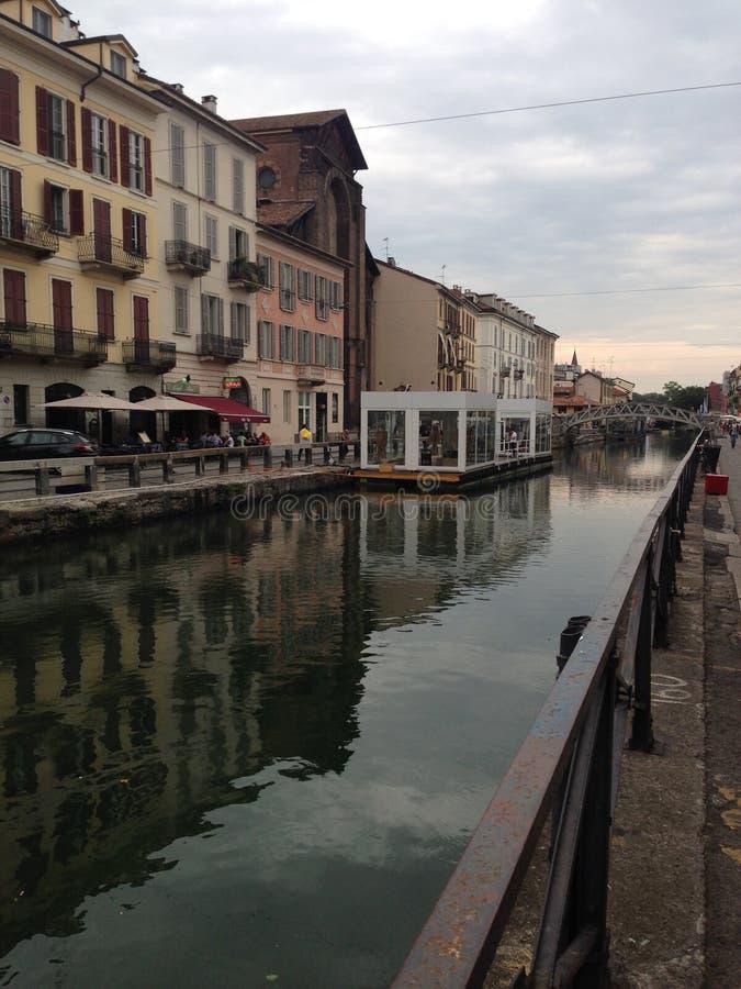 Rivier in Milaan stock afbeelding