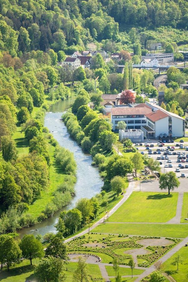 rivier Neckar in Sulz Duitsland royalty-vrije stock foto's