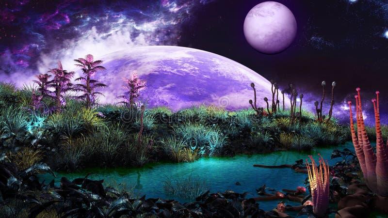 Rivier op een andere planeet stock illustratie