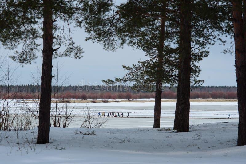 Rivier overgang in de winter stock afbeeldingen