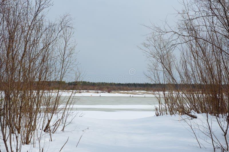 Rivier overgang in de winter stock foto's