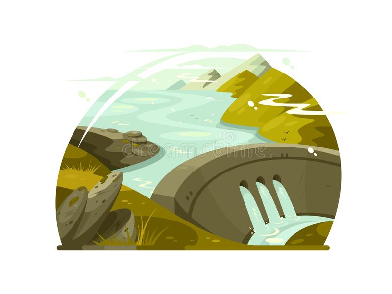 Rivier reusachtige dam stock illustratie