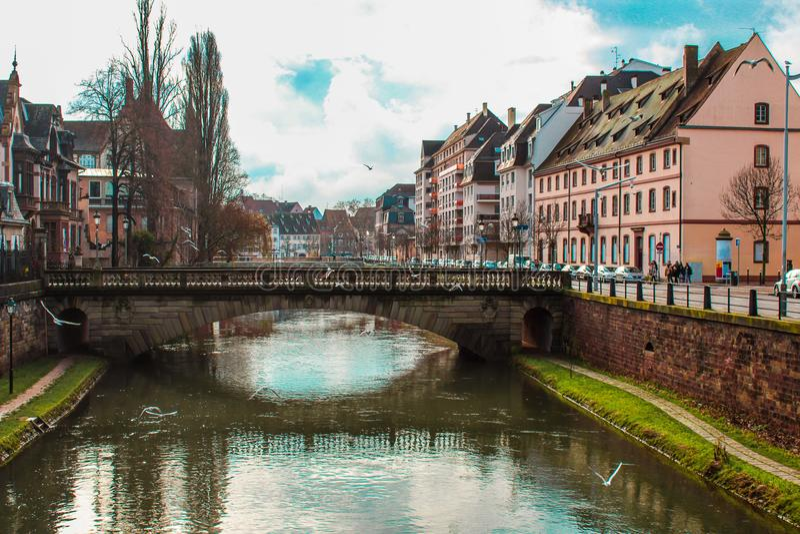 Rivier in Straatsburg, Frankrijk royalty-vrije stock afbeeldingen