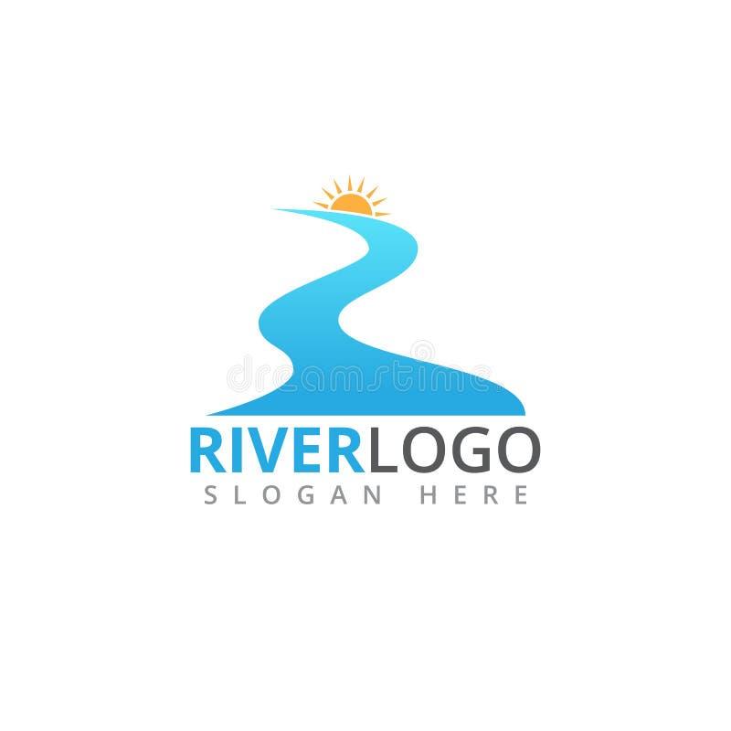 rivier stromende vorm met zon in het piek vectorembleemontwerp vector illustratie