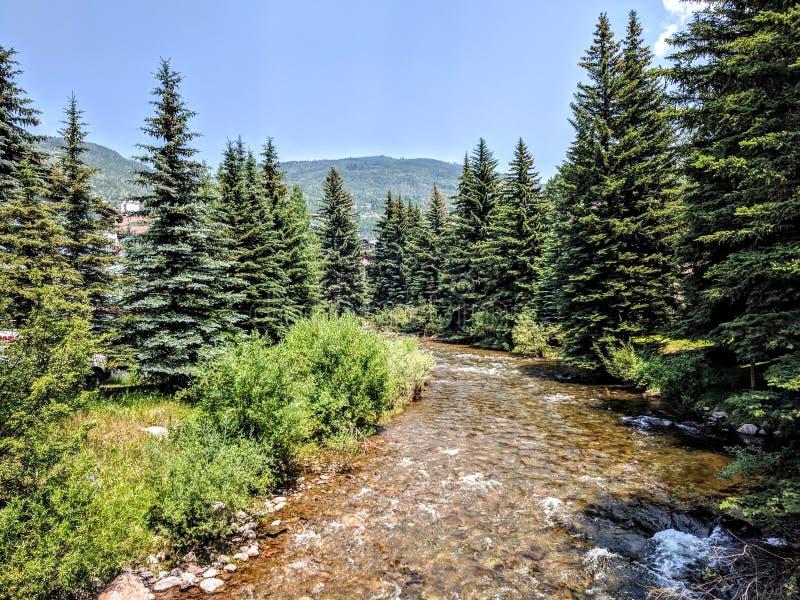 Rivier in Vail Colorado royalty-vrije stock afbeelding