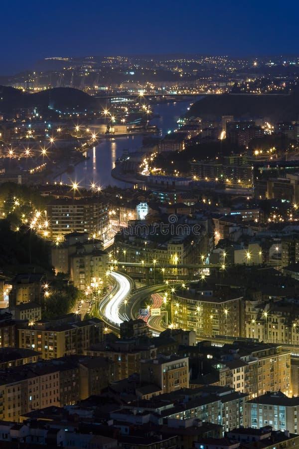 Rivier van 's nachts Bilbao royalty-vrije stock fotografie