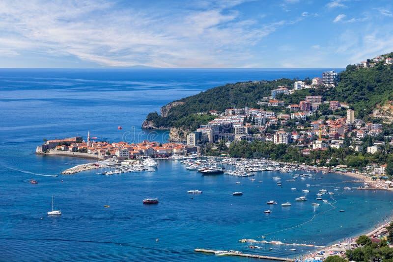 Riviera Budva na Adriatyckim Dennym wybrzeżu, Montenegro zdjęcie royalty free