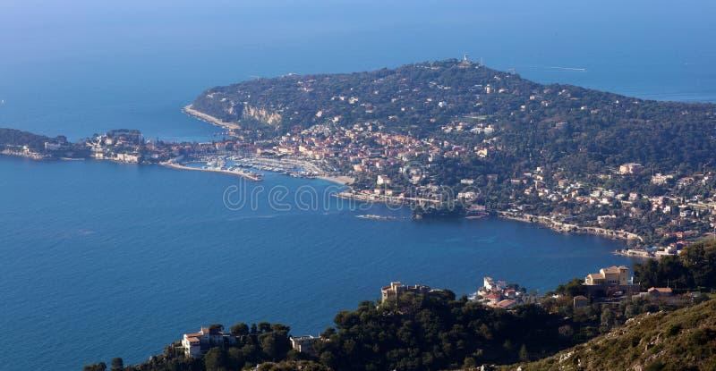 Riviera francesa, ` Azur, costa mediterránea de CÃ'te d, Eze, Saint Tropez, Cannes y Mónaco agradables Agua azul y yates de lujo fotografía de archivo libre de regalías