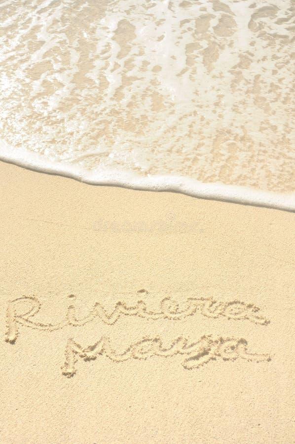 Riviera Maya Written In Sand On Beach Stock Photos